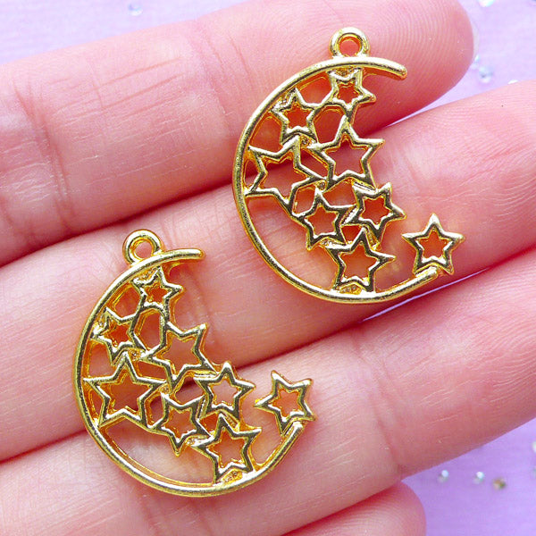 Magical Star and Moon Open Bezel Charm | UV Resin Jewelry Supplies | Kawaii Deco Frame for Resin Filling (2pcs / Gold / 19mm x 23mm)