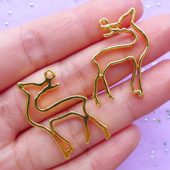 Deer Open Backed Bezel | Forest Animal Charm | Small Deco Frame | Kawaii UV Resin Craft Supplies (2pcs / Gold / 21mm x 30mm)