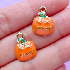 Halloween Pumpkin Enamel Charms | Halloween Jewelry Supplies | Party Decoration | Favor Charm | Gift Decor (2pcs / 12mm x 16mm)