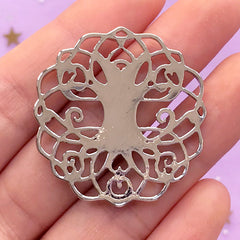 Filigree Tree of Life Connector Charm | Round Base for Cabochon and Cameo | Scared Jewellery Making (1 piece / Silver / 35mm x 37mm)