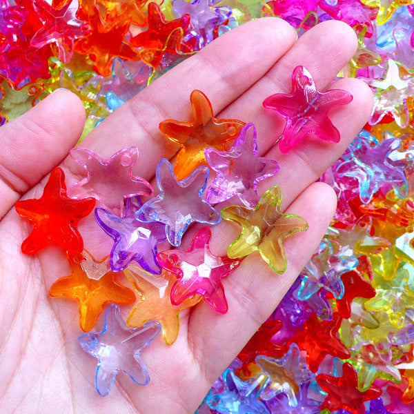 Acrylic Starfish Charms | Marine Life Charm | Star Fish Charms | Colorful Chunky Jewelry Supplies (15 pcs / Assorted Color Mix / 22mm x 20mm)