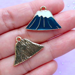 Mount Fuji Enamel Charms | Mt. Fuji Pendant | Fujisan Charm | Mountain Charm | Japan Travel Charm (2pcs / 24mm x 16mm)