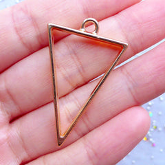 Triangle Open Back Bezel Charm for UV Resin Crafts | Geometry Pendant | Geometric Deco Frame (1 piece / Gold / 25mm x 39mm / 2 Sided)