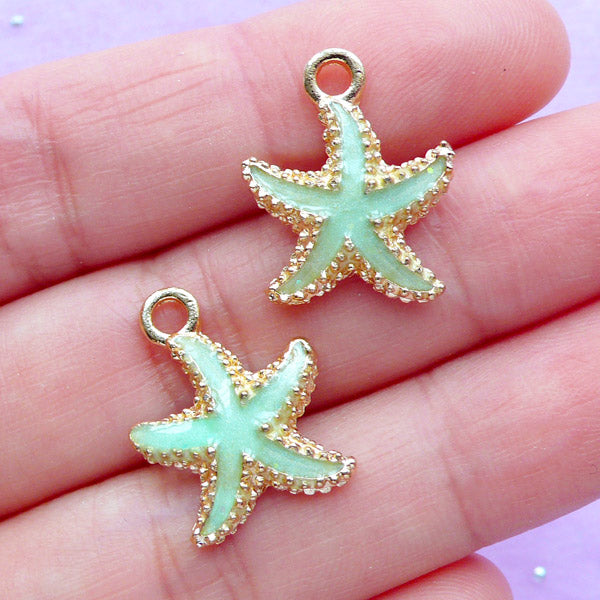 Starfish Enamel Charms | Star Fish Charm | Marine Life Pendant | Oceanic Jewelry Making (2pcs / Light Green / 15mm x 18mm)