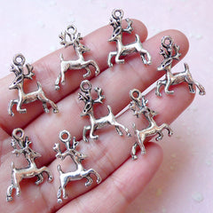 Reindeer Charm / Deer Charm (8pcs / 16mm x 21mm / Tibetan Silver / 2 Sided) Animal Christmas Jewelry Favor Charm Party Decoration CHM893