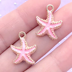 Starfish Enameled Charms | Sea Star Charm | Star Fish Pendant | Marine Life Jewellery Making | Beach Decoration (2pcs / Light Pink / 15mm x 18mm)