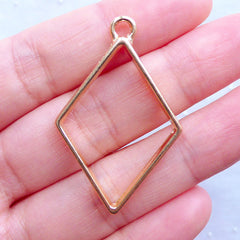 Rhombus Open Backed Bezel Pendant for Resin Filling | Geometric Outline Charm | Deco Frame for UV Resin Jewelry Making (1 piece / Gold / 26mm x 40mm / 2 Sided)