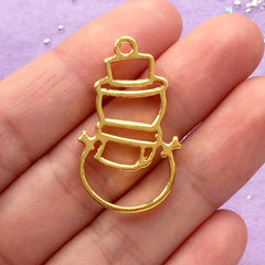 Christmas Snowman Open Backed Bezel Charm | Hollow Christmas Deco Frame for UV Resin Filling | Kawaii Craft Supplies (1 piece / Gold / 19mm x 32mm)