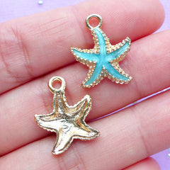 Enameled Starfish Charms | Marine Animal Pendant | Beach Bracelet Charm | Nautical Jewellery Supplies (2pcs / Blue / 15mm x 18mm)