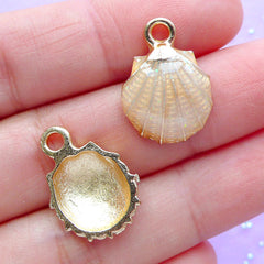Scallop Shell Enamel Charms | Seashell Pendant | Sea Shell Charm | Nautical Jewelry Supplies (2pcs / Pink Beige / 13mm x 19mm)