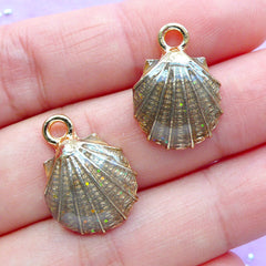 Enamel Scallop Shell Charms | Sea Shell Pendant | Seashell Charm | Beach Jewellery Making (2pcs / Brown / 13mm x 19mm)