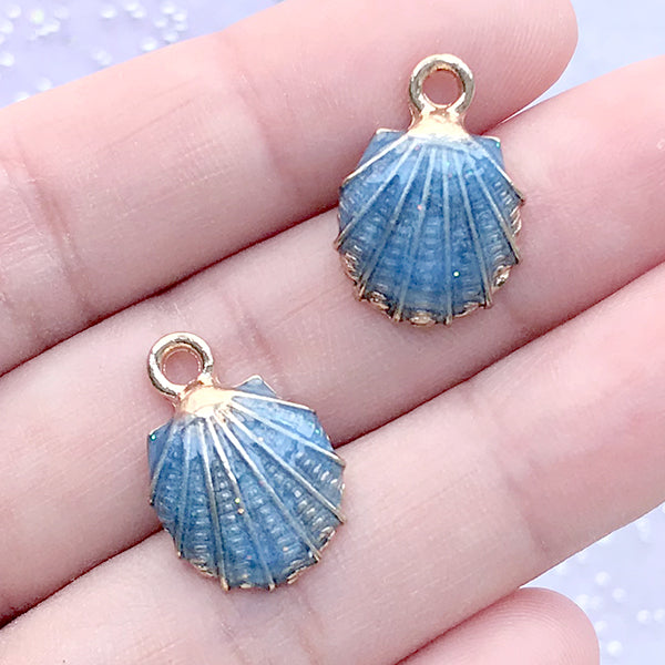 Enamel Seashell Charms | Scallop Shell Pendant | Nautical Charm | Oceanic Jewellery Supplies (2pcs / Blue / 13mm x 19mm)