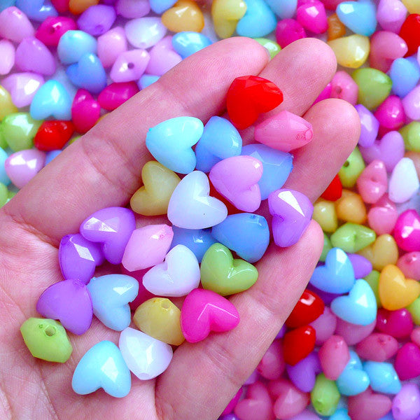 Small Acrylic Heart Beads | Kawaii Chunky Bead | Colorful Plastic Beads | Cute Jewelry Supplies (30 pcs / Assorted Color Mix / 12mm x 11mm)