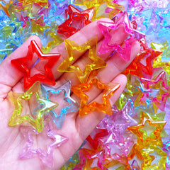 Large Acrylic Star Outline Beads | Colorful Chunky Bead | Kawaii Plastic Beads | Cute Jewellery Supplies (10 pcs / Assorted Color Mix / 35mm x 34mm)