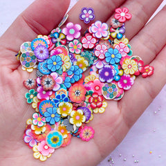 Polymer Clay Flower Slices (Big) | Floral Fimo Clay Cane Supply | Card Making & Resin Craft (100pcs by Random)