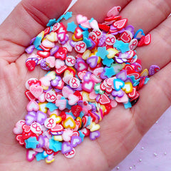 Valentine's Day Nail Art | Heart Fimo Cane Slices | Polymer Clay Cane Supplies (250pcs by Random)