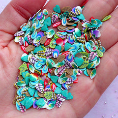Nail Art Supplies | Floral Polymer Clay Slices | Leaf Fimo Clay Cane Slices (250-300pcs by Random)