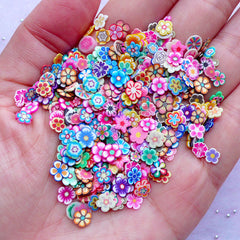 Flower Polymer Clay Cane Slices | Floral Nail Art | Fimo Cane Supplies | Resin Cabochon DIY (250-300pcs by Random)