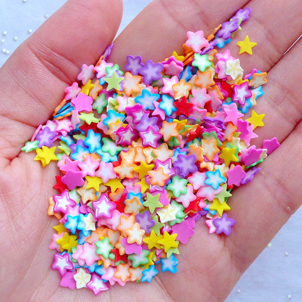 Colorful Fimo Star Slices | Kawaii Nail Designs | Polymer Clay Cane Supplies | Filling Materials for UV Resin Crafts (250-300pcs by Random)