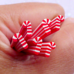 Miniature Christmas Candy Stick Polymer Clay Cane | Tiny Mini Peppermint Fimo Canes | Christmas Sweets Nail Design