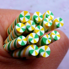Miniature Peppermint Candy Fimo Stick | Kawaii Sweets Polymer Clay Cane | Christmas Nail Deco (Green & Yellow)