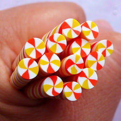 Dollhouse Peppermint Swirl Candy Polymer Clay Cane | Miniature Sweets Fimo Rod | Kawaii Craft Supplies (Orange & Yellow)