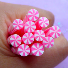 Miniature Peppermint Swirl Candy | Kawaii Polymer Clay Cane | Dollhouse Food Crafts | Fimo Cane Supplies | Nail Decoration (Pink)