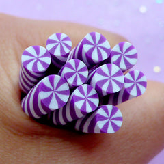Dollhouse Peppermint Swirl Candy | Kawaii Fimo Cane | Miniature Food Crafts | Polymer Clay Cane Supplies | Nail Decorations (Purple)