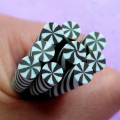 Peppermint Fimo Cane | Swirl Candy Polymer Clay Cane | Mini Food Crafts | Kawaii Nail Design | Miniature Sweet Supplies (Black)