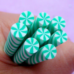 Peppermint Polymer Clay Cane | Swirl Candy Fimo Cane | Kawaii Food Crafts | Nail Designs | Dollhouse Sweet Supplies (Green)