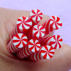 Christmas Peppermint | Miniature Sweet Polymer Clay Cane | Fake Swirl Candy | Faux Food Fimo Cane | Nail Art Supplies (Red)
