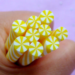 Fake Peppermint | Dollhouse Sweet Fimo Cane | Faux Candy | Doll Food Polymer Clay Cane | Kawaii Nail Deco (Yellow)