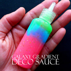 Glitter Deco Sauce in Rainbow Galaxy Color | Colorful Glue | Magical Girl Decoden | Kawaii Phone Case Supplies | Card DIY (Pink Blue Yellow Green / 22ml)