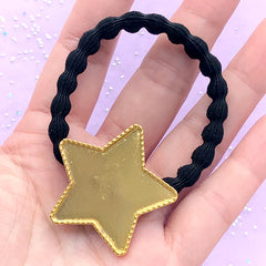 Star Bezel Tray with Black Hair Tie | Cute Bezel Setting | Kawaii Resin Jewellery Supplies | Hair Accessories DIY (1 piece / Gold and Black)