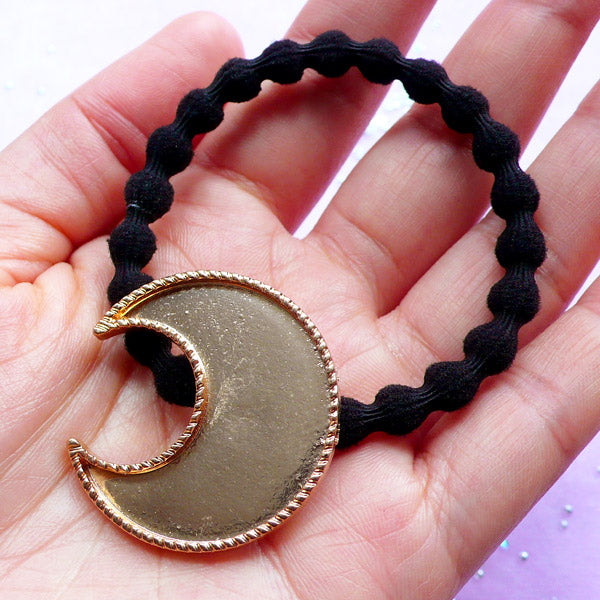 Moon Bezel Cup with Black Hair Tie | Kawaii Bezel Setting | UV Resin Jewelry Making | Hair Accessories Findings (1 piece / Gold and Black)