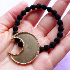 DEFECT Moon Bezel Cup with Black Hair Tie | Kawaii Bezel Setting | UV Resin Jewelry Making | Hair Accessories Findings (1 piece / Gold and Black)