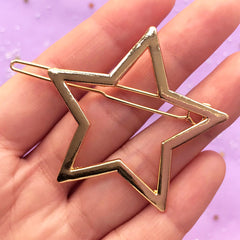 Cute Star Open Bezel Hair Clip | Kawaii Deco Frame for UV Resin Jewellery Making | Hair Findings (1 piece / Gold / 47mm x 45mm)