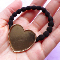 Hair Tie with Heart Bezel Tray | Resin Jewelry DIY | Kawaii Hair Accessories Supply | UV Resin Craft (1 piece / Gold and Black)