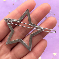 Big Star Open Backed Bezel Hair Clip | Deco Frame for UV Resin Filling | Resin Jewelry Supplies | Kawaii Hair Findings (1 piece / Silver / 47mm x 45mm)