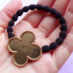 Kawaii Hair Tie with Four Leaf Clover Bezel Cup | Resin Jewellery DIY | Cute Hair Accessories | UV Resin Crafts (1 piece / Gold and Black)
