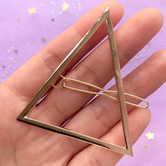 Large Triangle Open Back Bezel Hair Clip | Geometric Deco Frame | UV Resin Jewelry Supplies | Hair Accessories Supplies (1 piece / Gold / 56mm x 61mm)