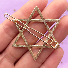 Star of David Open Bezel Hair Clip | Hexagram Deco Frame for UV Resin Filling | Sacred Geometry Jewery Supplies (1 piece / Gold / 39mm x 44mm)