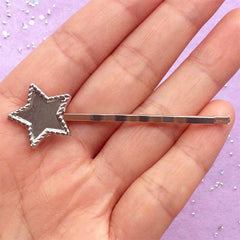 Star Bezel Hair Pin for UV Resin Filling | Kawaii Jewelry DIY | Star Hair Clip | Cute Hair Findings (1 piece / Silver)