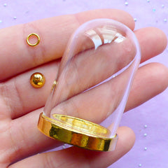 Miniature Glass Dome Charm | Little Prince Jewelry Making | Glass Terrarium Pendant (Gold / 1 Set)