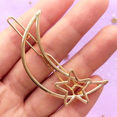 Moon and Star Open Backed Bezel Hair Clip | Kawaii Deco Frame for UV Resin Jewellery DIY | Cute Hair Accessories Supplies (1 piece / Gold / 29mm x 51mm)