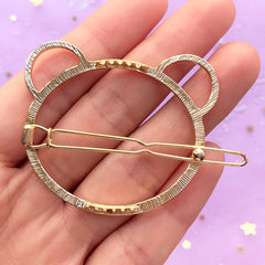 Bear Open Bezel Hair Clip | Cute Animal Hair Accessories | Deco Frame for UV Resin Filling | Kawaii Craft Supplies (1 piece / Gold / 50mm x 43mm)