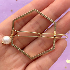 Twisted Hexagon Open Back Bezel Hair Clip with Pearl | Geometric Deco Frame for UV Resin Filling | Hair Accessories Supplies (1 piece / Gold / 41mm x 47mm)