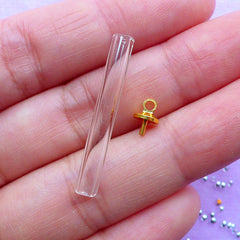 30mm Glass Tube with Gold Cap | Dollhouse Miniature Test Tube | Glass Pendant | Necklace Making (1 Set / Gold)