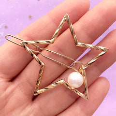 Twisted Star Open Bezel Hair Clip with Pearl | Kawaii UV Resin Jewellery Supplies | Cute Hair Accessories (1 piece / Gold / 46mm x 44mm)