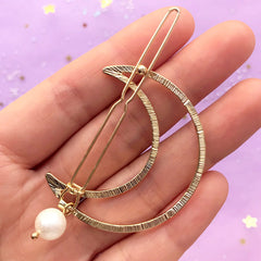 Twisted Moon Open Back Bezel Hair Clip with Pearl | Deco Frame for UV Resin Filling | Magical Girl Jewelry Supplies (1 piece / Gold / 38mm x 45mm)